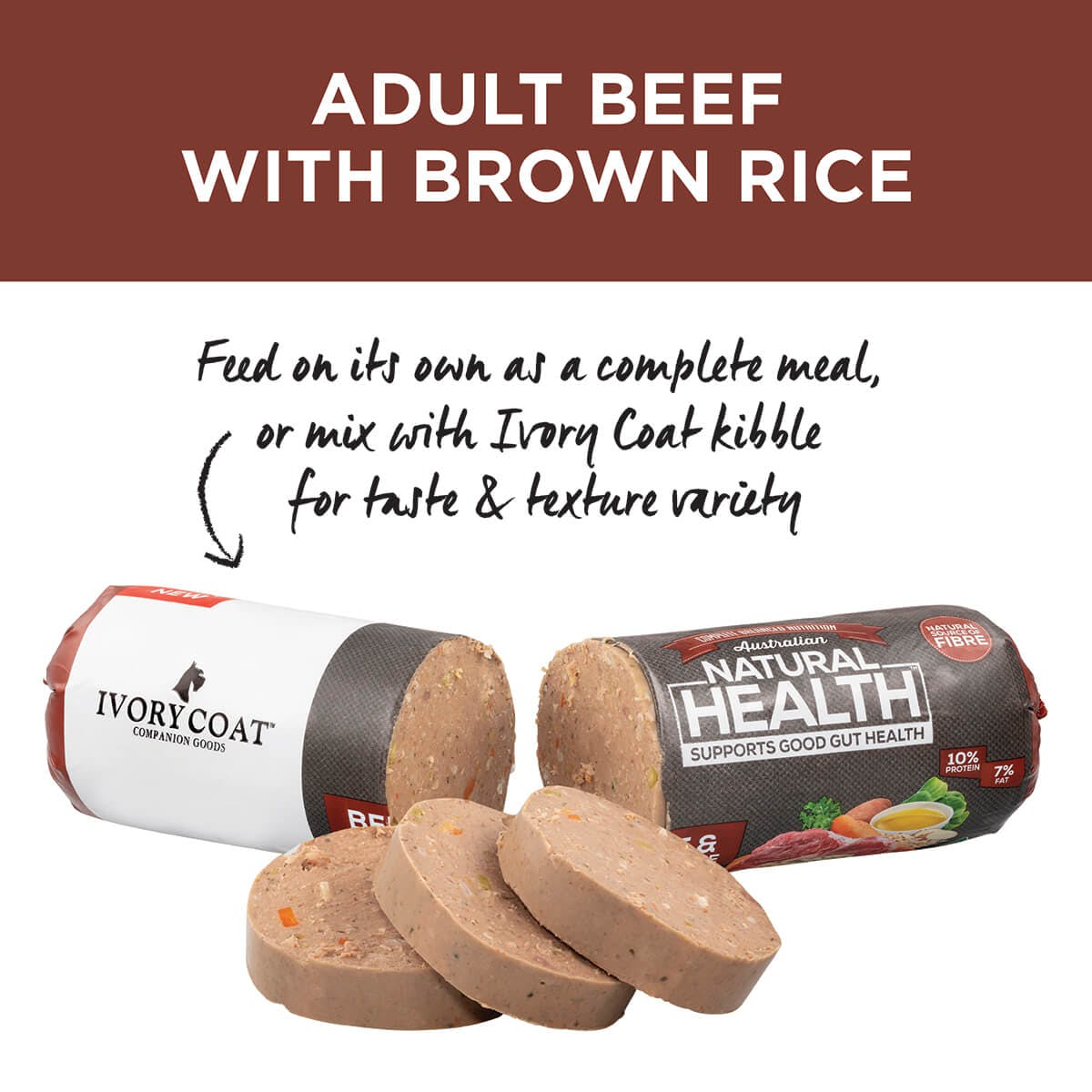 Ivory Coat | Chilled Beef & Brown Rice 1.4kg | Chilled Dog Food | Top of pack