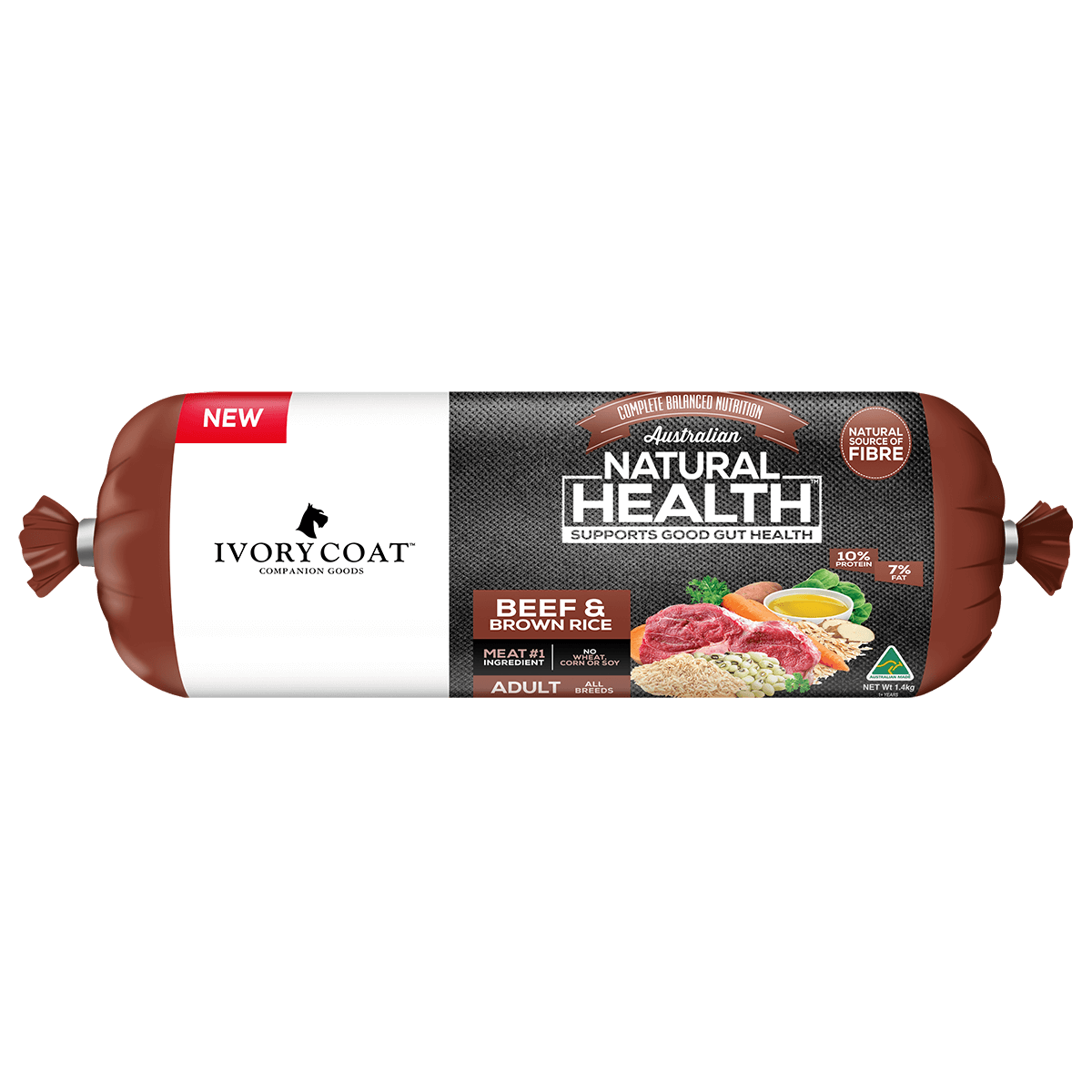 Ivory Coat | Chilled Beef & Brown Rice 1.4kg | Chilled Dog Food | Front of pack