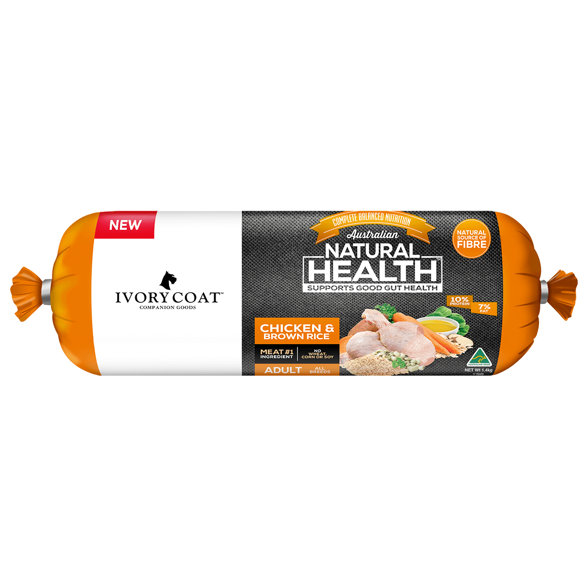 Ivory Coat | Chilled Chicken & Brown Rice 1.4kg | Chilled Dog Food | Front of pack