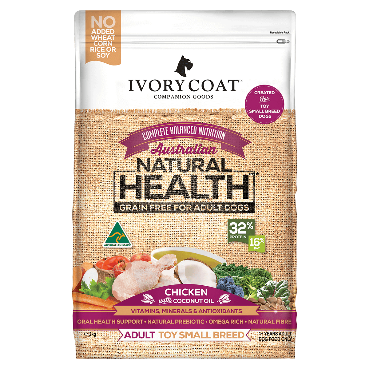 Ivory Coat | Dry GF Small Breed Chicken with Coconut OIl 2kg | Grain Free Dry Dog Food | Front of pack