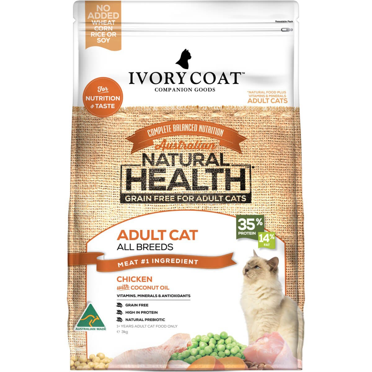 Ivory Coat | Cat Dry GF Chicken & Coconut Oil 3kg | Grain Free Dry Cat Food | Front of pack