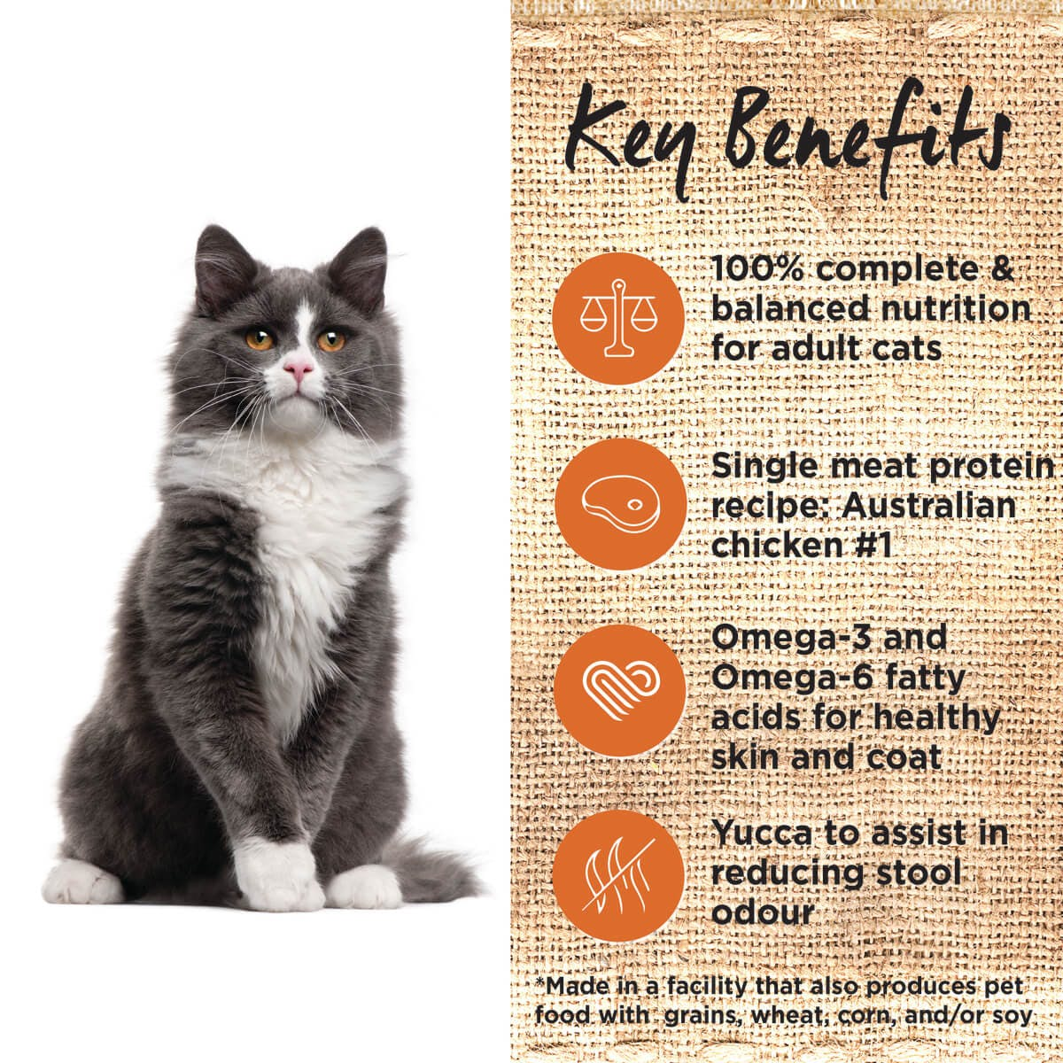 Ivory Coat | Cat Dry GF Chicken & Coconut Oil 3kg | Grain Free Dry Cat Food | Left of pack