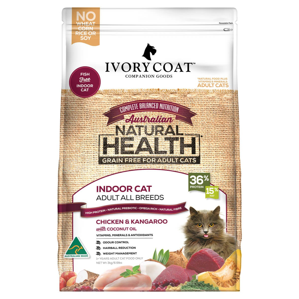 Ivory Coat | Cat Dry GF Chicken & Kangaroo with Coconut Oil 3kg | Grain Free Dry Cat Food | Front of pack