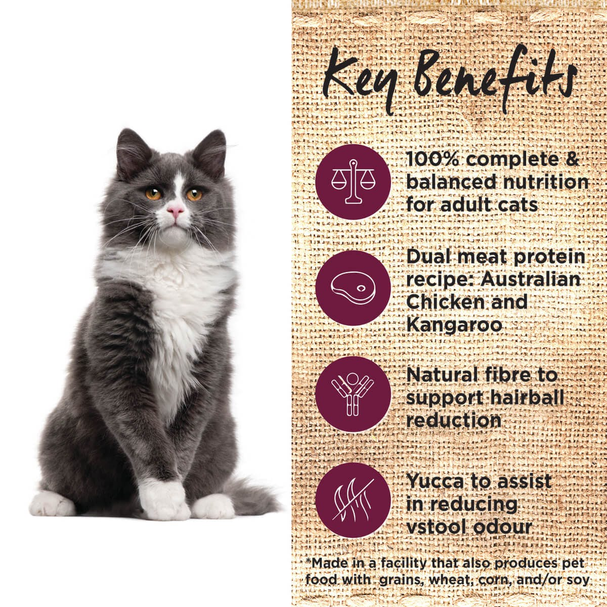 Ivory Coat | Cat Dry GF Chicken & Kangaroo with Coconut Oil 3kg | Grain Free Dry Cat Food | Left of pack
