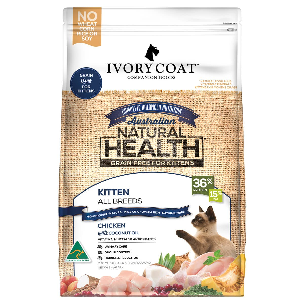 Ivory Coat | Kitten Dry GF Chicken with Coconut Oil 3kg | Grain Free Dry Cat Food | Front of pack