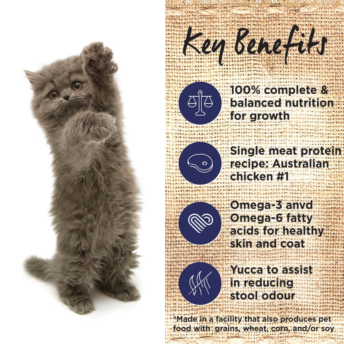 Ivory Coat | Kitten Dry GF Chicken with Coconut Oil 3kg | Grain Free Dry Cat Food | Left of pack