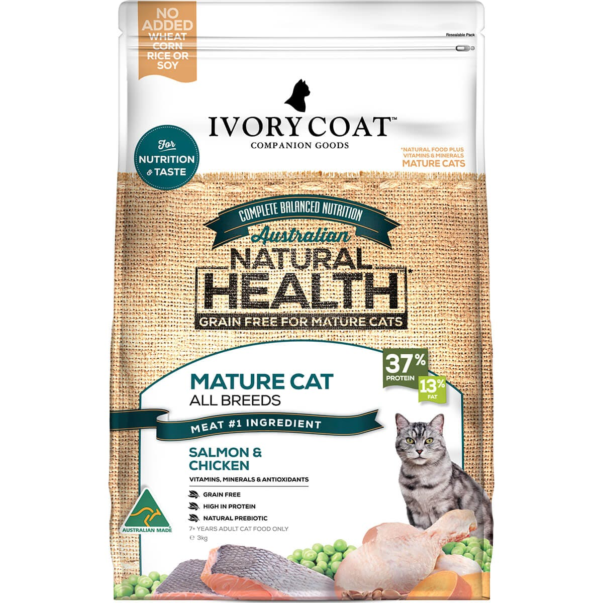 Ivory Coat | Cat Dry GF Mature Chicken & Salmon 3kg | Grain Free Dry Cat Food | Front of pack