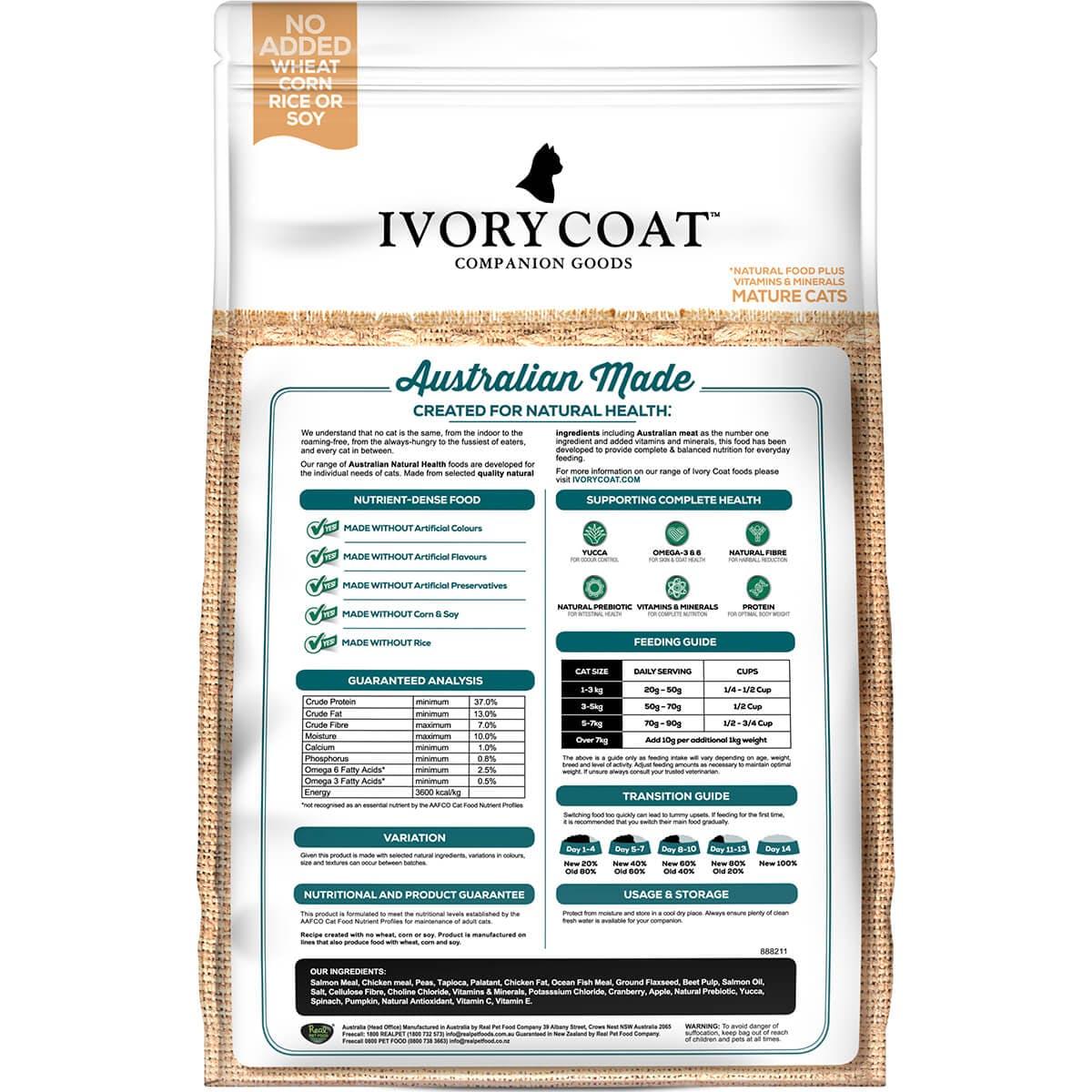 Ivory Coat   Cat Dry GF Mature Chicken & Salmon 3kg   Grain Free Dry Cat Food   Back of pack