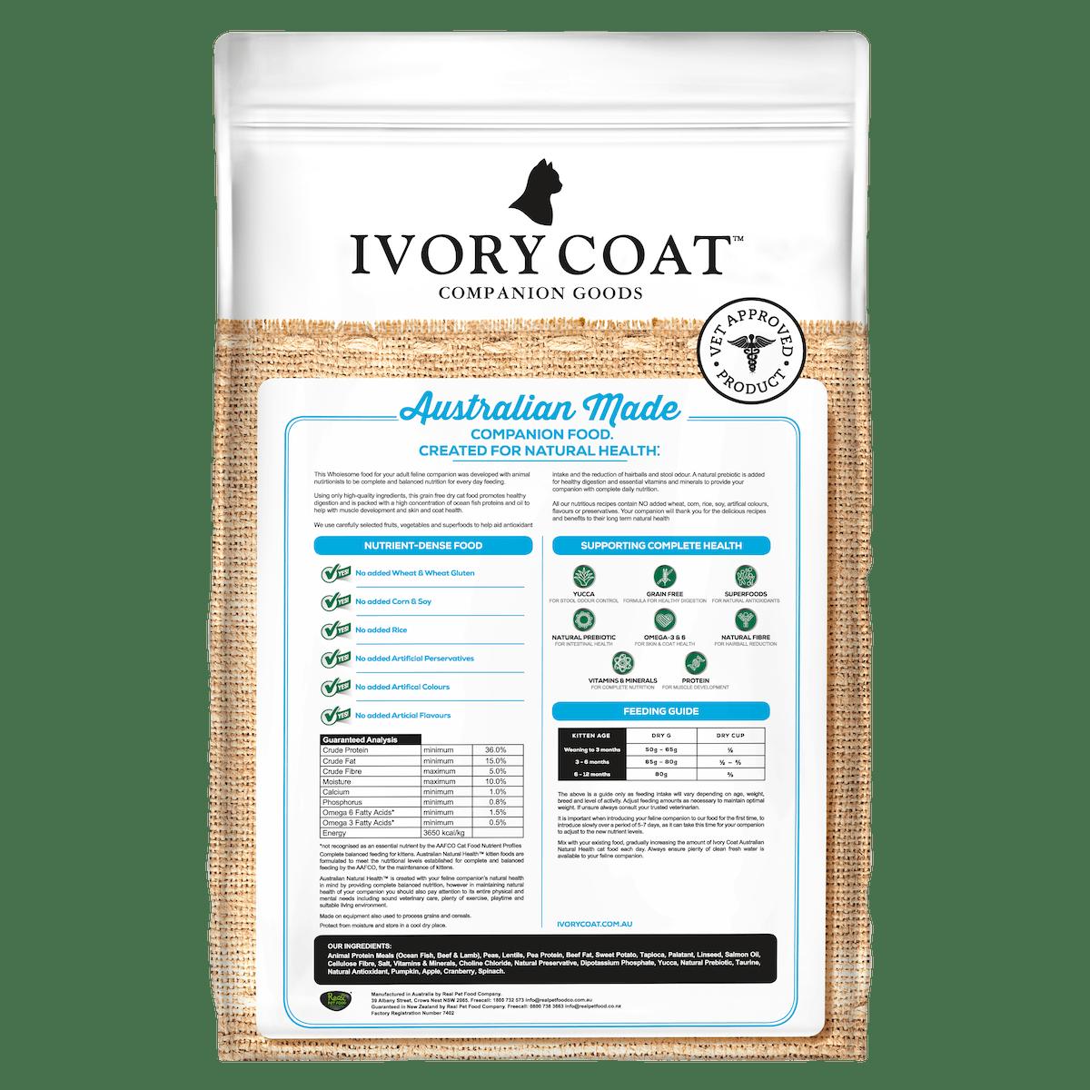 Ivory Coat | Kitten GF Dry Ocean Fish 3kg | Grain Free Dry Cat Food | Back of pack