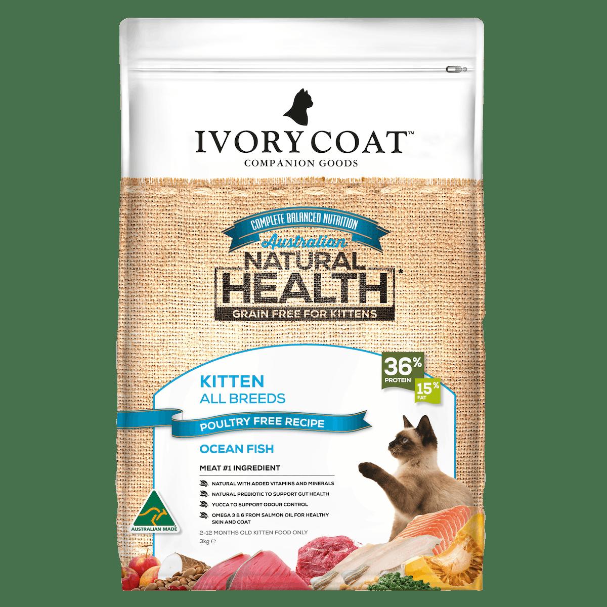 Ivory Coat   Kitten GF Dry Ocean Fish 3kg   Grain Free Dry Cat Food   Front of pack