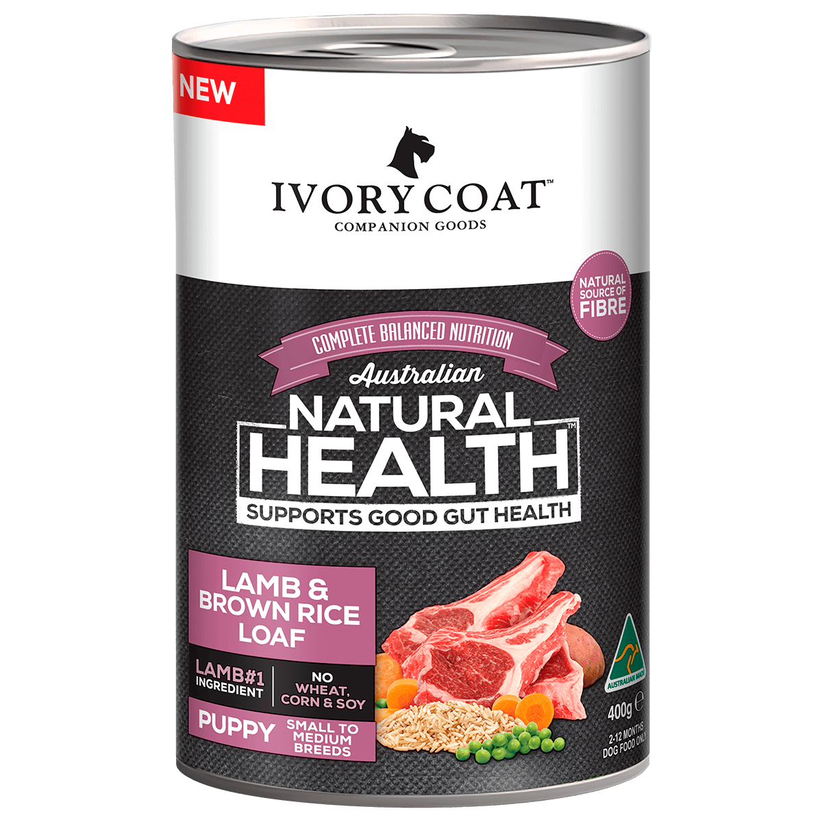 Ivory Coat | Wet Puppy Lamb & Brown Rice 400g | Wet Dog Food | Front of pack