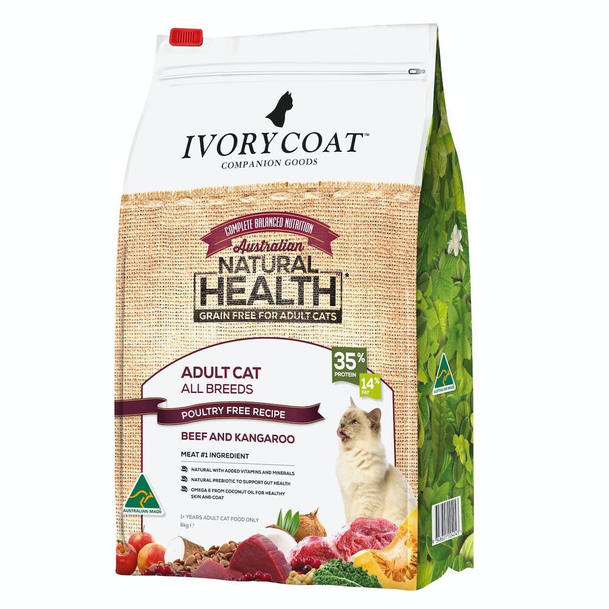 Ivory Coat | Ivory CoatBeef &Kangaroo recipe for AdultCats 6kg | Grain Free Dry Cat Food | Front of pack