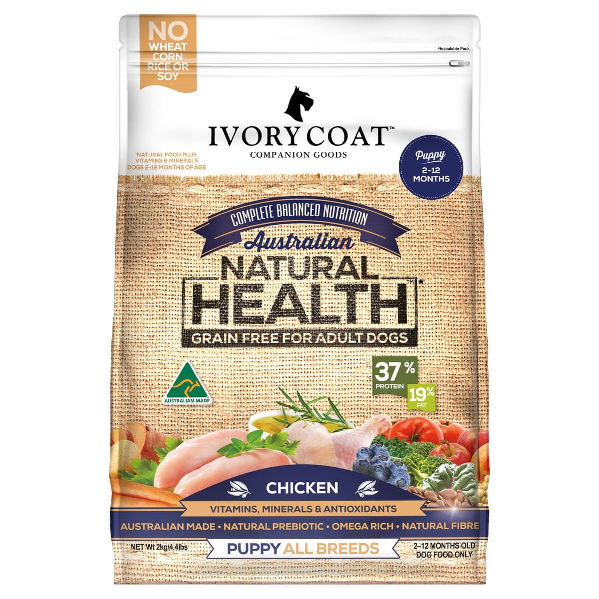 Ivory Coat | Dry GF Puppy Chicken 2kg | Grain Free Dry Dog Food | Front of pack