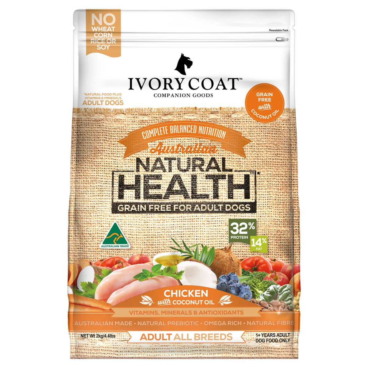 Ivory Coat | Dry GF Chicken with Coconut Oil 2kg | Grain Free Dry Dog Food | Front of pack