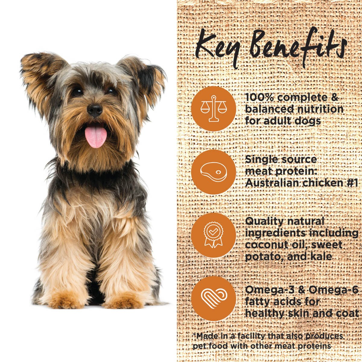 Ivory Coat | Dry GF Chicken with Coconut Oil 2kg | Grain Free Dry Dog Food | Left of pack