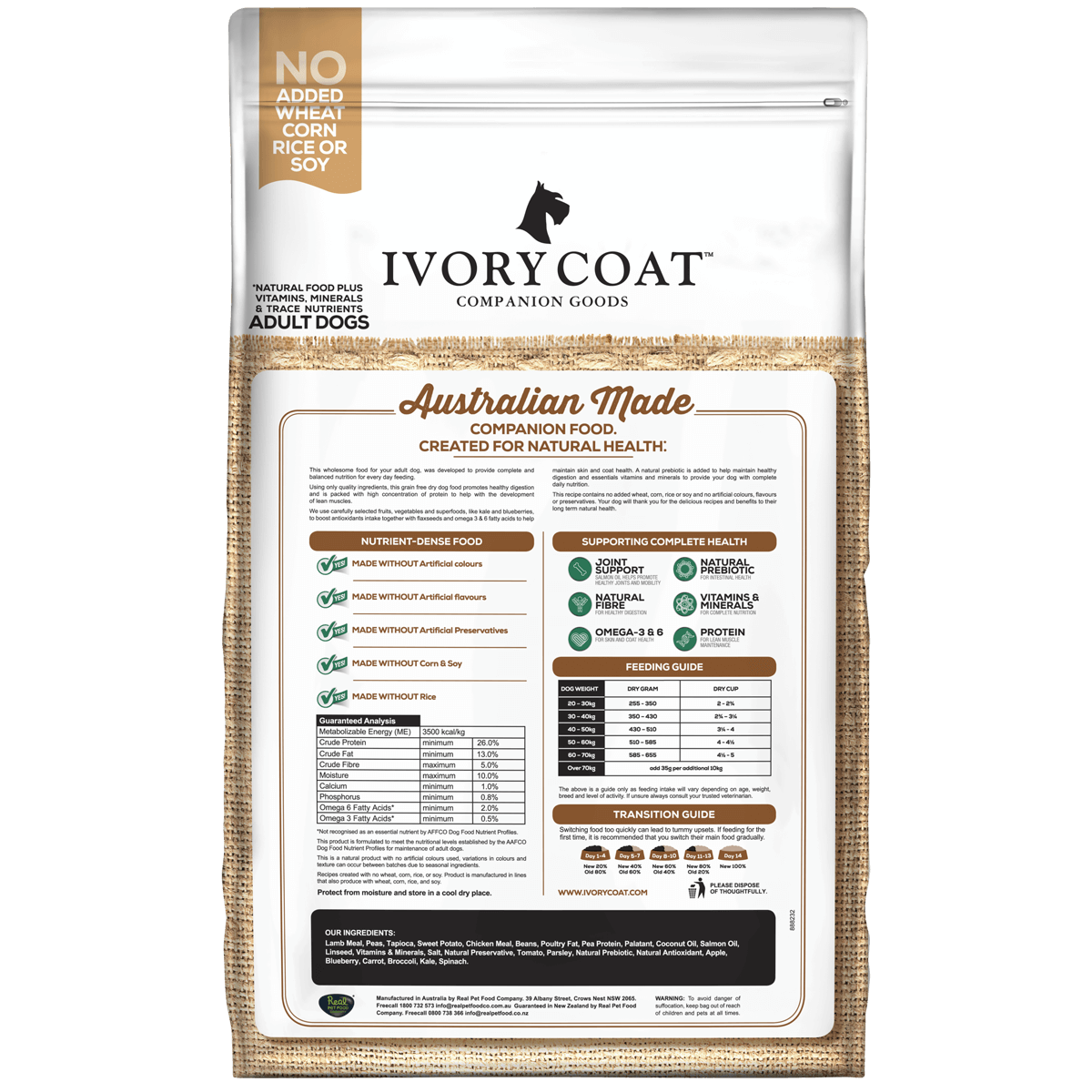 Ivory Coat | Dry GF Large Breed Lamb with Coconut Oil 13kg | Grain Free Dry Dog Food | Back of pack