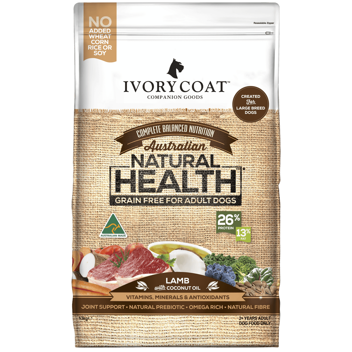 Ivory Coat | Dry GF Large Breed Lamb with Coconut Oil 13kg | Grain Free Dry Dog Food | Front of pack