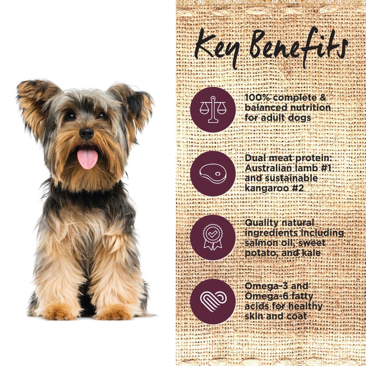 Ivory Coat | Dry GF Lamb & Kangaroo 2kg | Grain Free Dry Dog Food | Left of pack