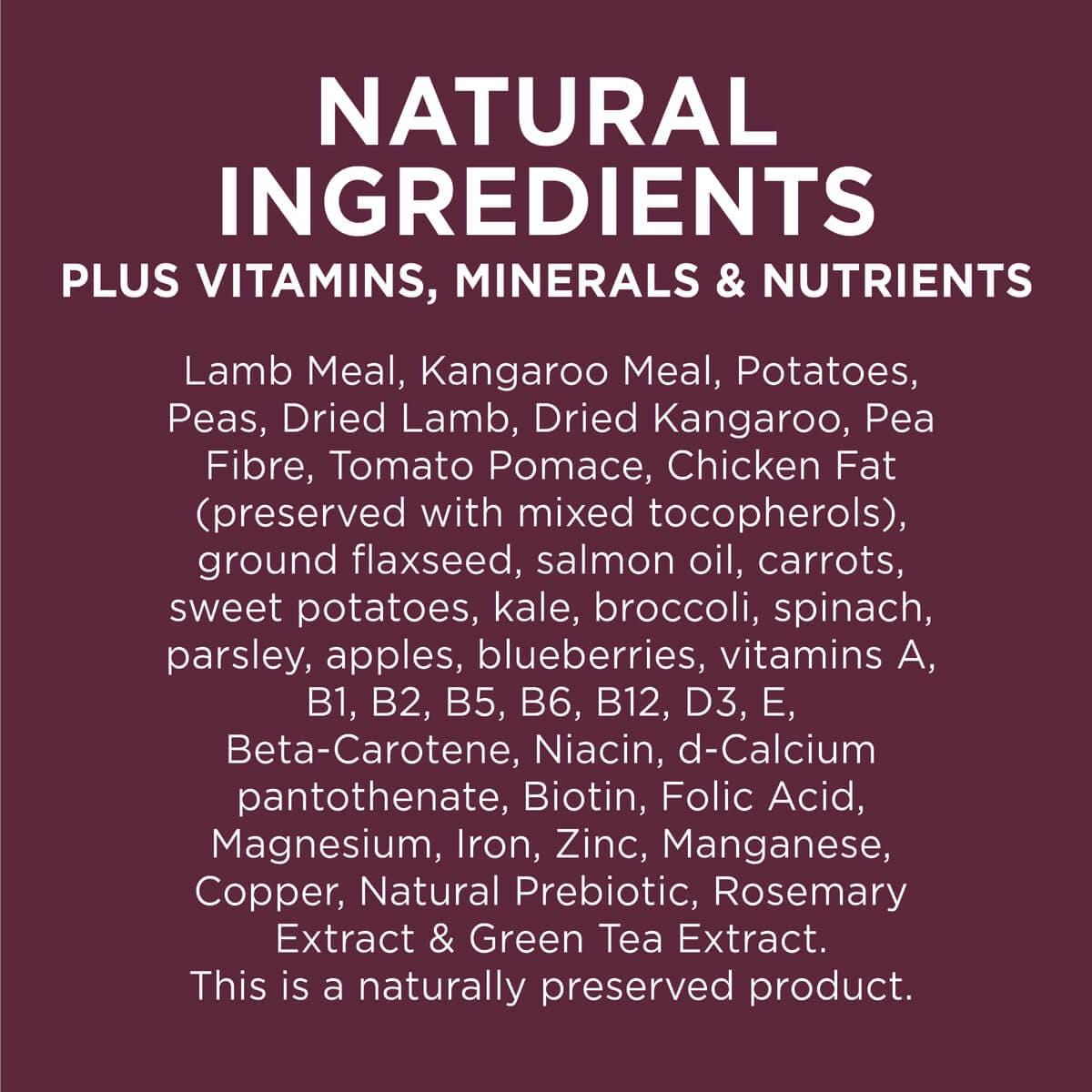 Ivory Coat | Dry GF Lamb & Kangaroo 2kg | Grain Free Dry Dog Food | Right of pack