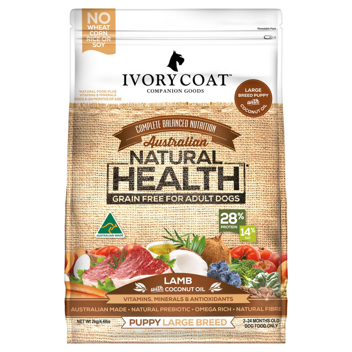 Ivory Coat | Dry GF Puppy Large Lamb with Coconut Oil 2kg | Grain Free Dry Dog Food | Front of pack