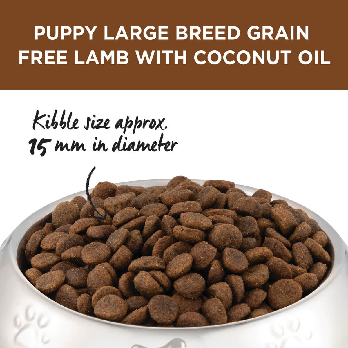 Ivory Coat | Dry GF Puppy Large Lamb with Coconut Oil 2kg | Grain Free Dry Dog Food | Top of pack