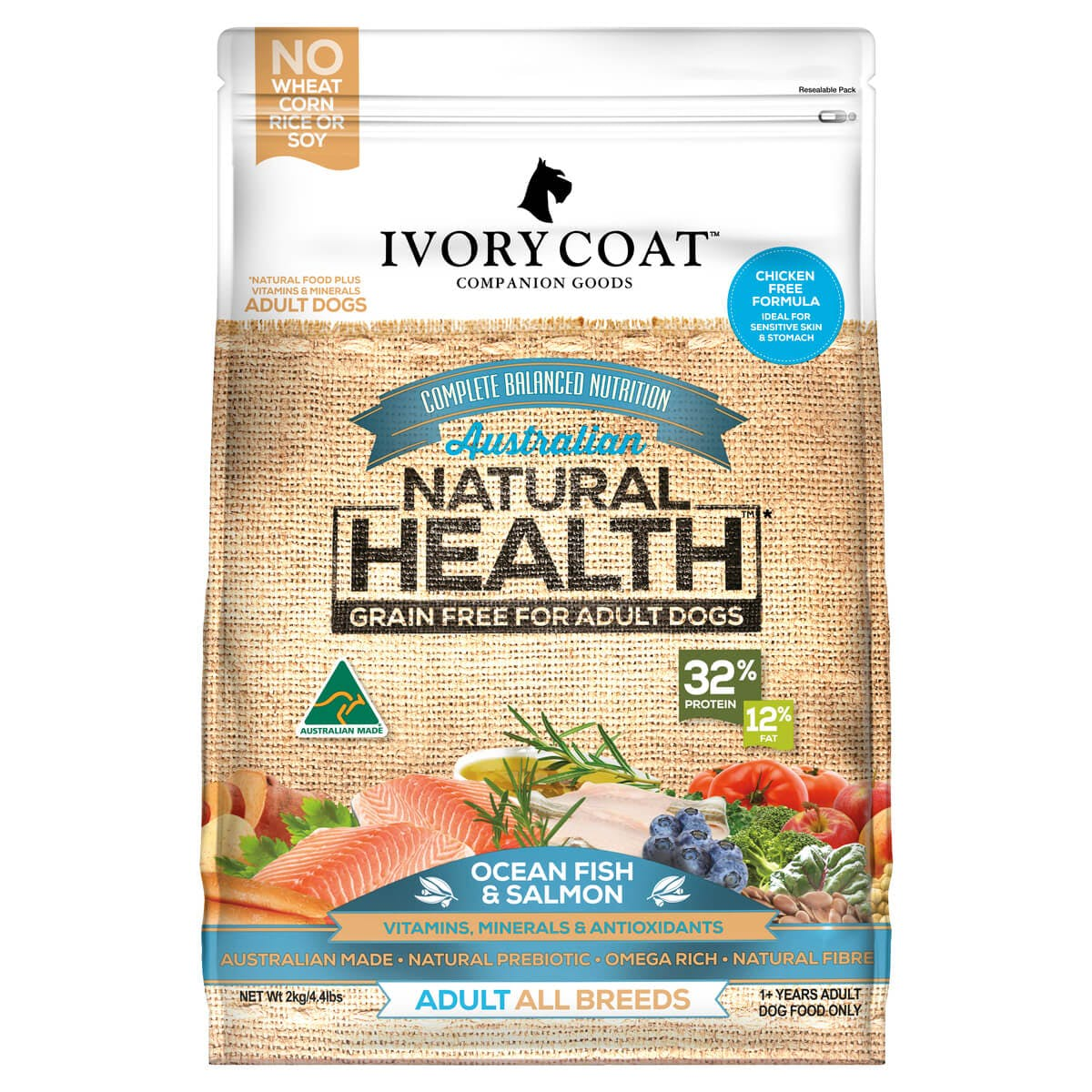 Ivory Coat | Dry GF Ocean Fish & Salmon 2kg | Grain Free Dry Dog Food | Front of pack
