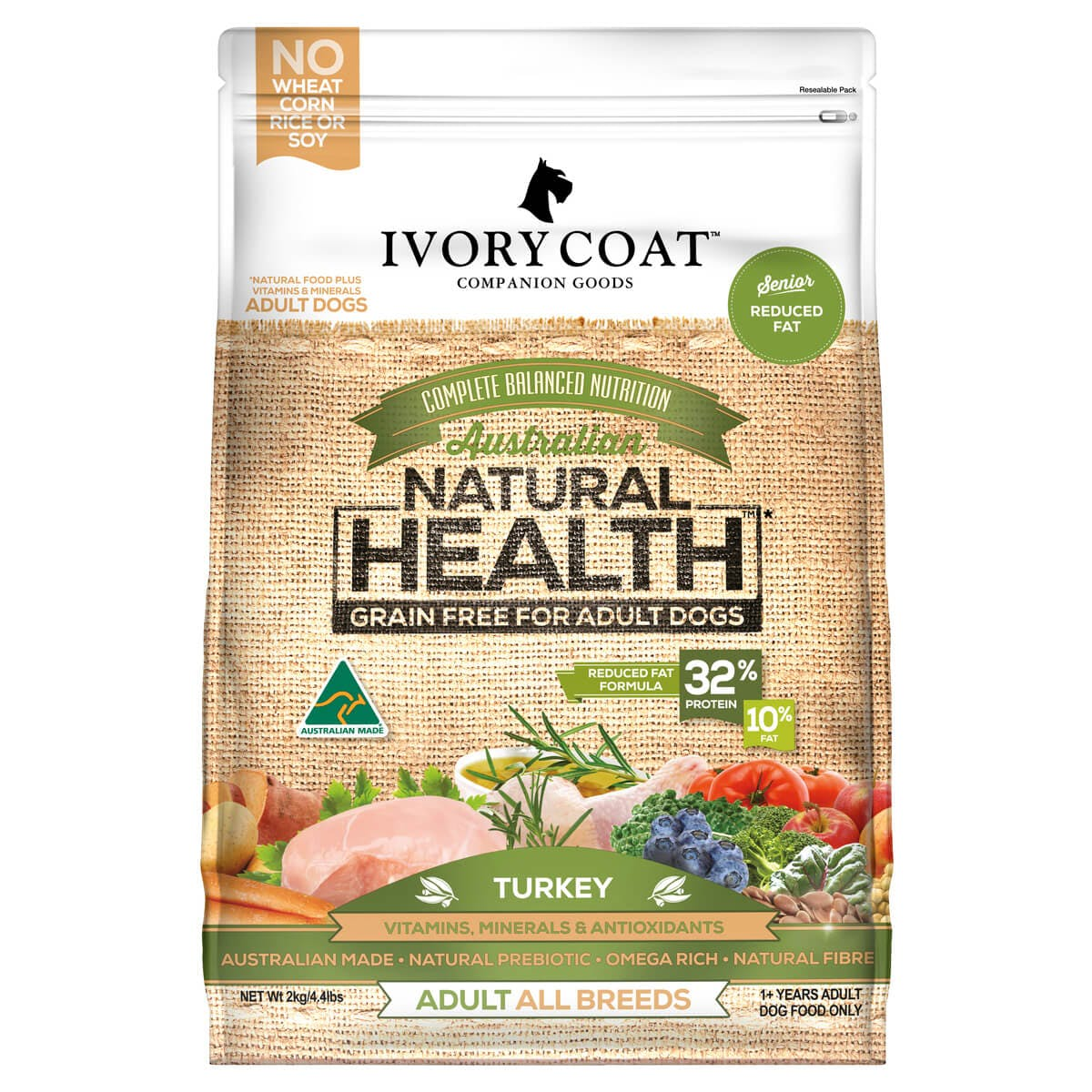 Ivory Coat | Dry GF Mature Turkey Reduced Fat 2kg | Grain Free Dry Dog Food | Front of pack