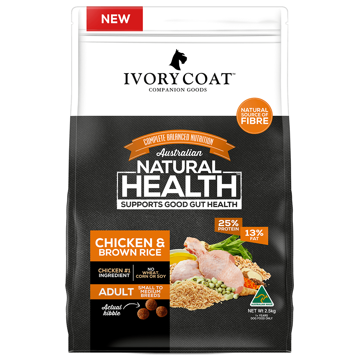Ivory Coat | Dry Chicken & Brown Rice 2.5kg | Dry Dog Food | Front of pack