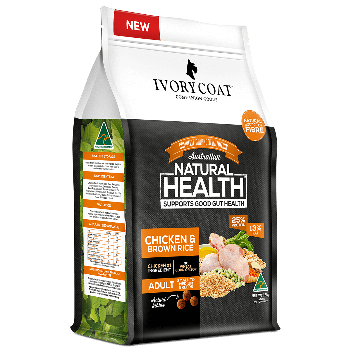 Ivory Coat | Dry Chicken & Brown Rice 2.5kg | Dry Dog Food | Left of pack