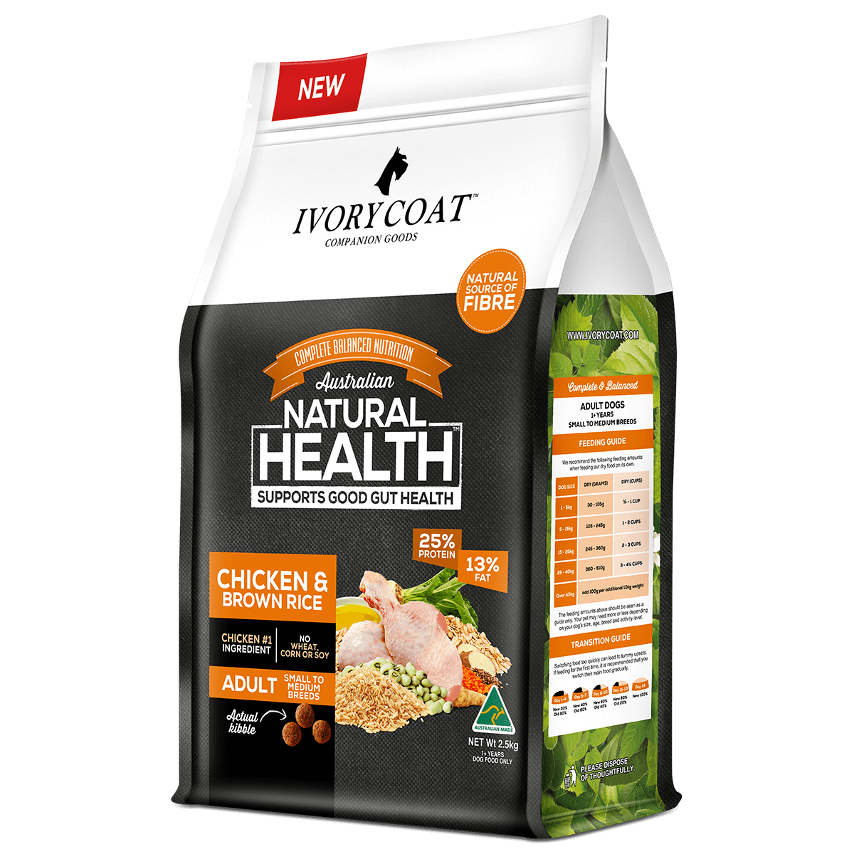 Ivory Coat | Dry Chicken & Brown Rice 2.5kg | Dry Dog Food | Right of pack
