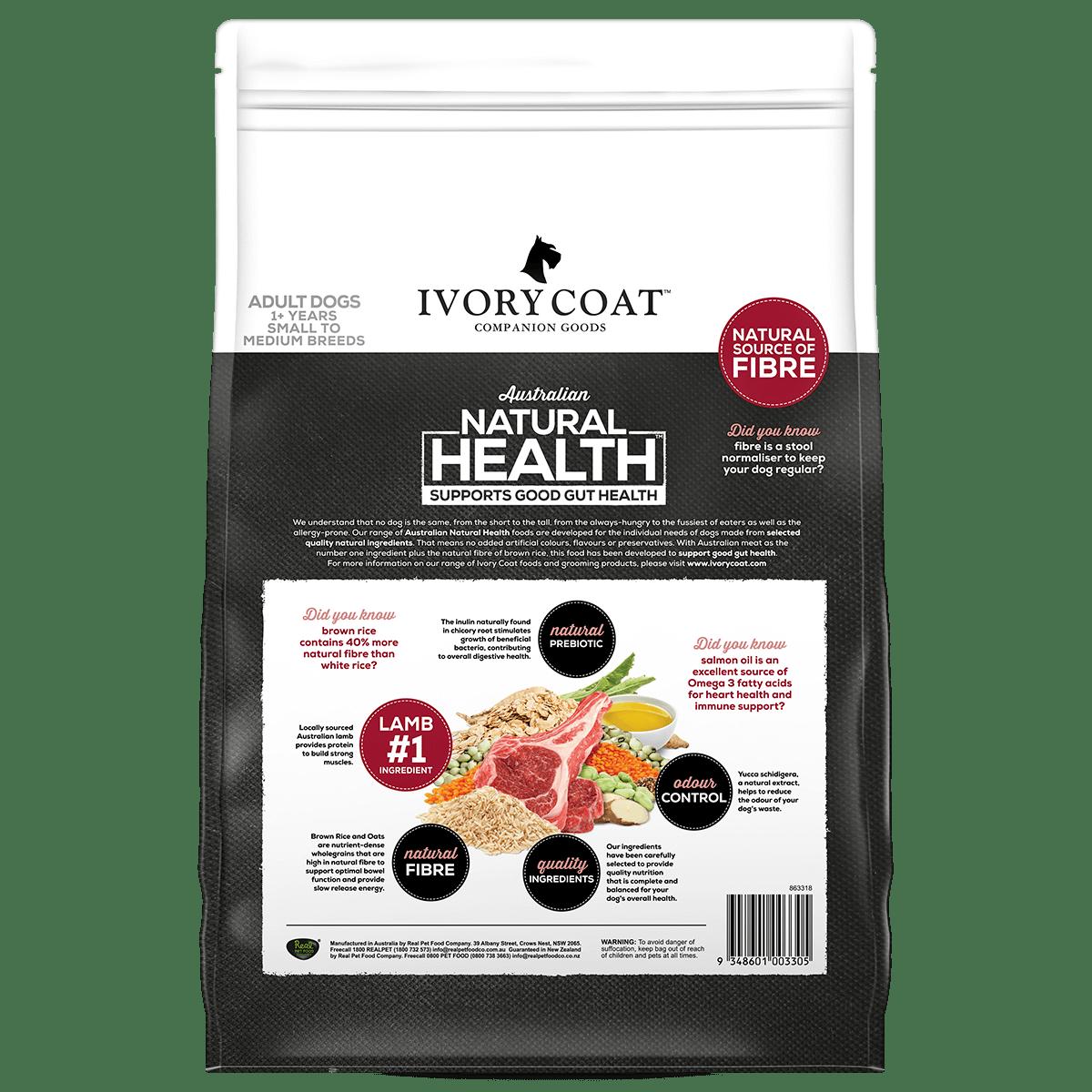 Ivory Coat | Dry Lamb & Brown Rice 2.5kg | Dry Dog Food | Back of pack
