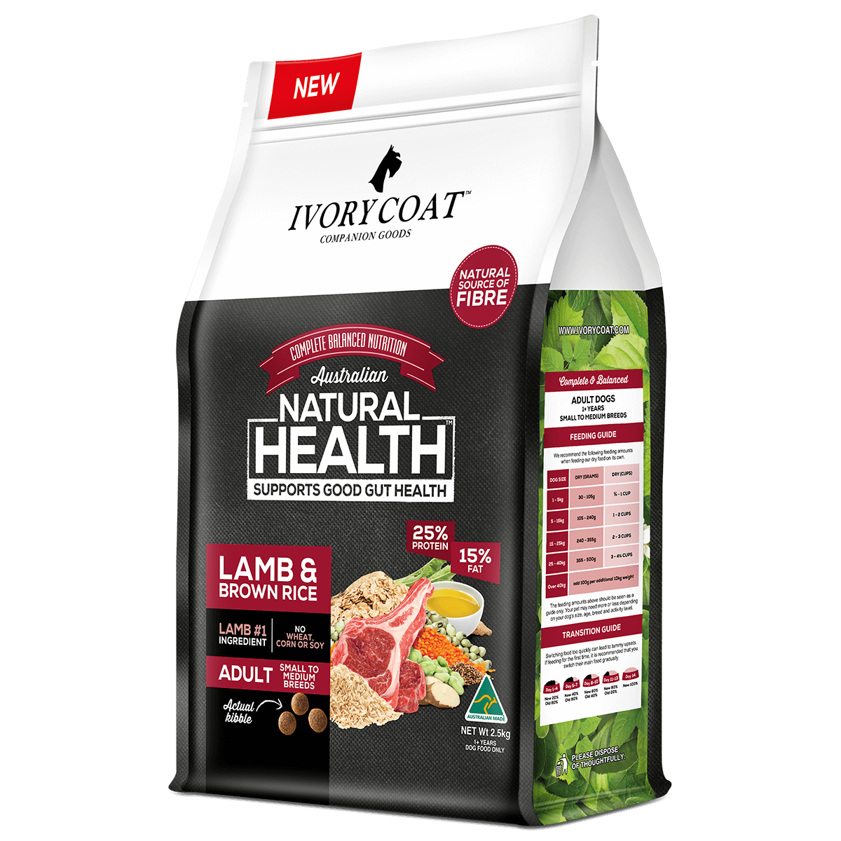 Ivory Coat | Dry Lamb & Brown Rice 2.5kg | Dry Dog Food | Right of pack