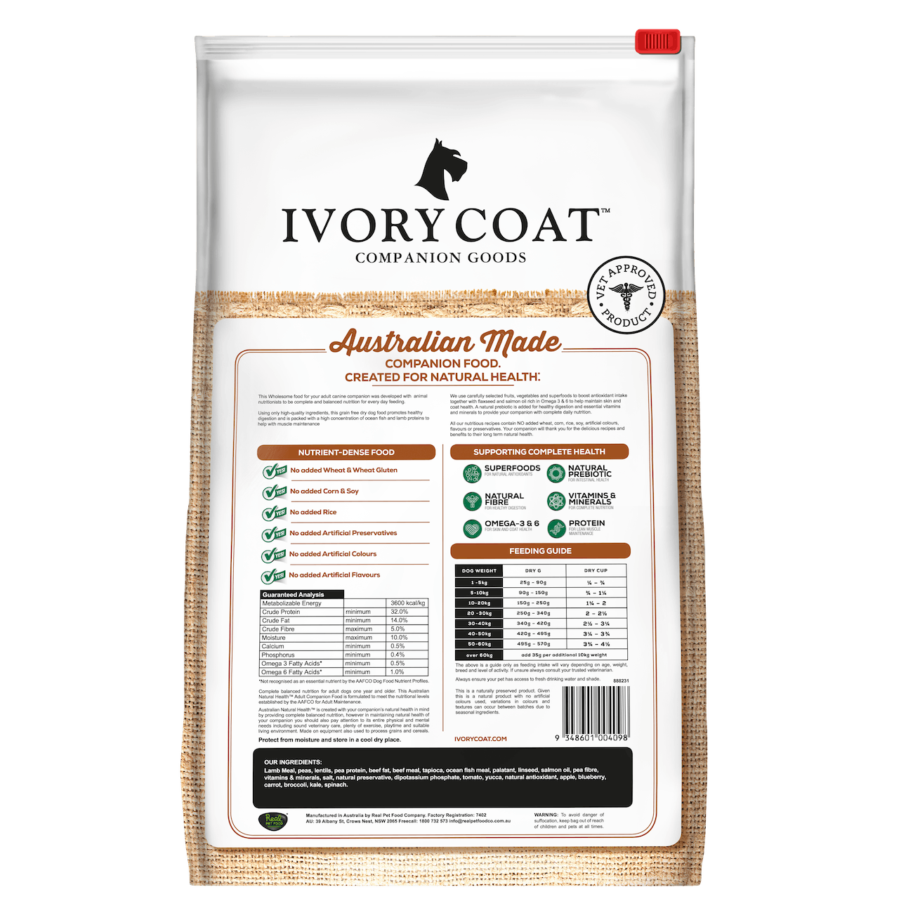 Ivory Coat | Dry GF Lamb & Ocean Fish for Adult Dogs | Grain Free Dry Dog Food | Back of pack