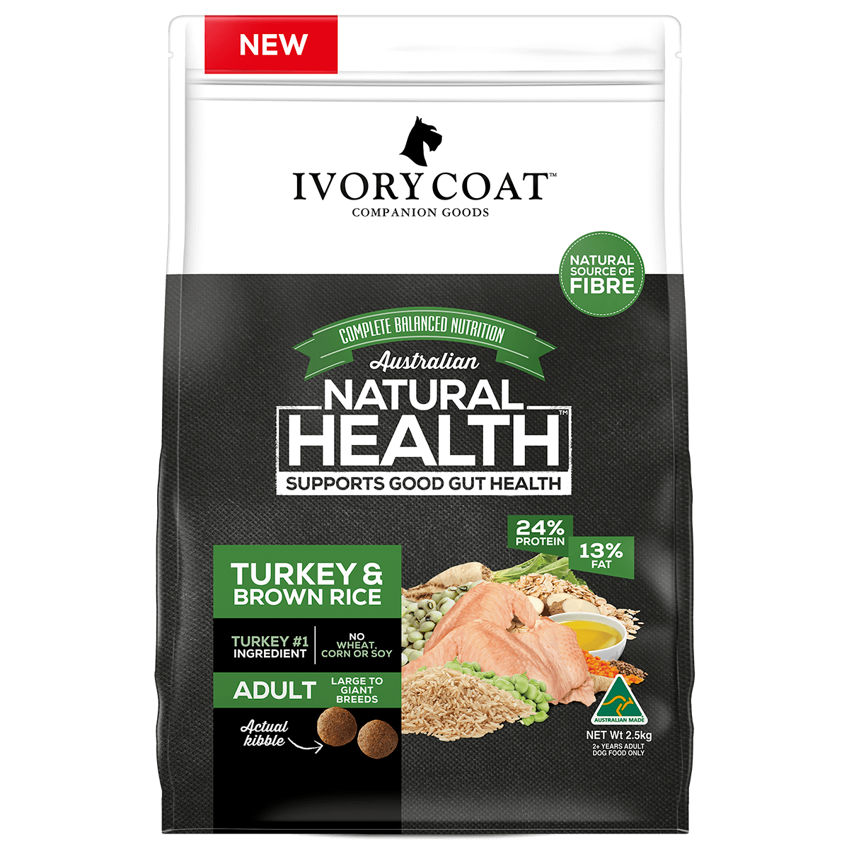 Ivory Coat | Dry Large Adult Turkey & Brown Rice 2.5kg | Dry Dog Food | Front of pack