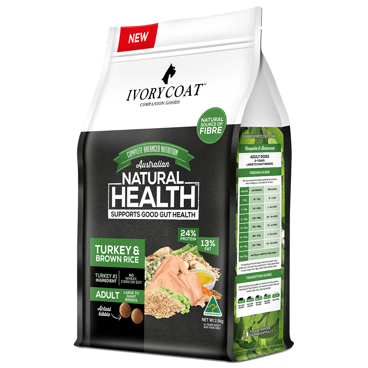 Ivory Coat | Dry Large Adult Turkey & Brown Rice 2.5kg | Dry Dog Food | Right of pack