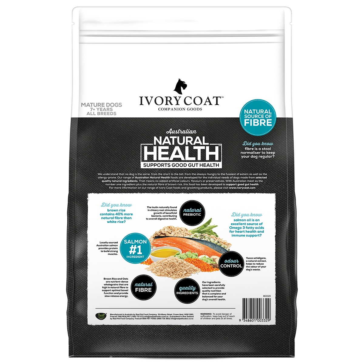 Ivory Coat   Dry Mature Salmon & Brown Rice 2.5kg   Dry Dog Food   Back of pack