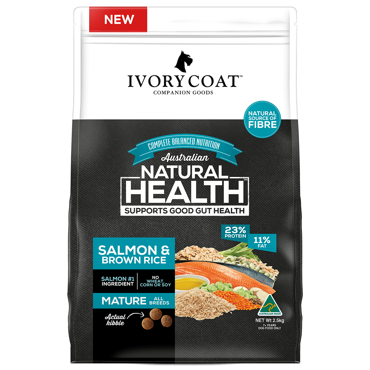 Ivory Coat | Dry Mature Salmon & Brown Rice 2.5kg | Dry Dog Food | Front of pack