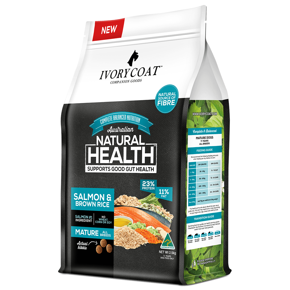 Ivory Coat   Dry Mature Salmon & Brown Rice 2.5kg   Dry Dog Food   Right of pack
