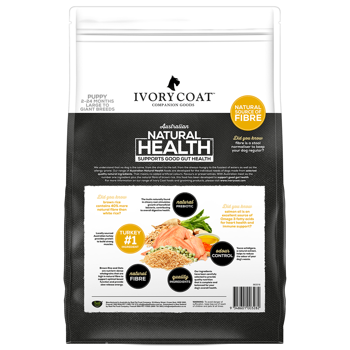 Ivory Coat | Dry Puppy Large Turkey & Brown Rice 2.5kg | Dry Dog Food | Back of pack