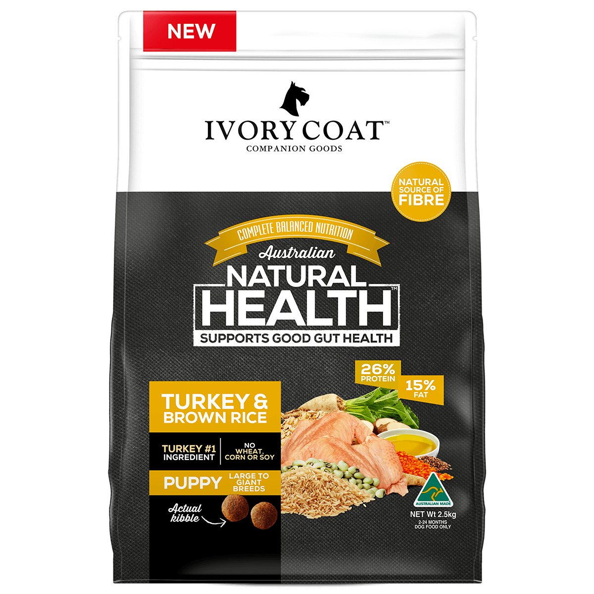 Ivory Coat | Dry Puppy Large Turkey & Brown Rice 2.5kg | Dry Dog Food | Front of pack