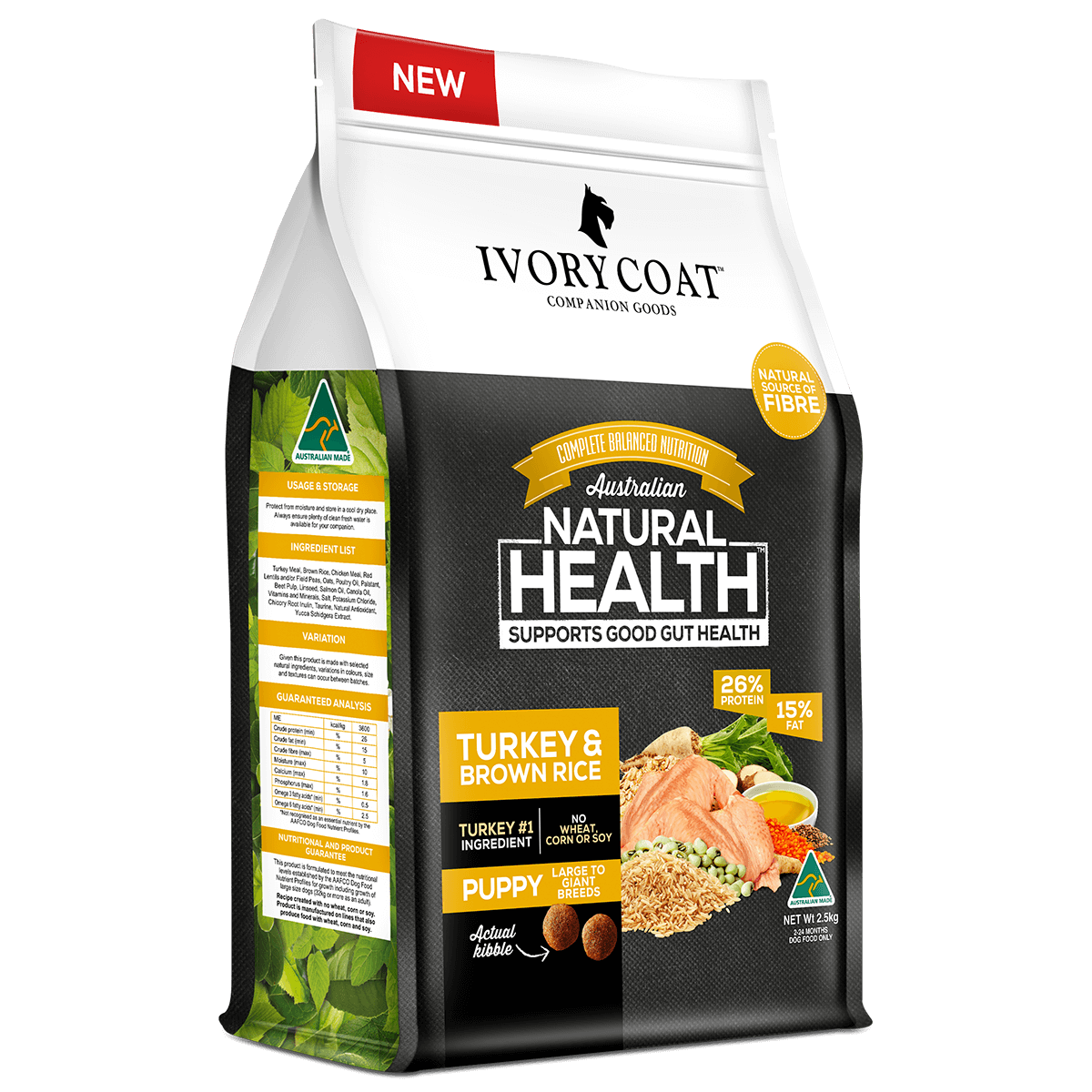 Ivory Coat | Dry Puppy Large Turkey & Brown Rice 2.5kg | Dry Dog Food | Left of pack