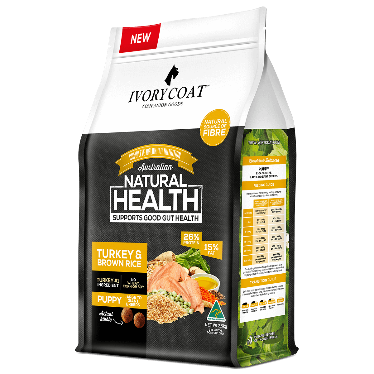 Ivory Coat | Dry Puppy Large Turkey & Brown Rice 2.5kg | Dry Dog Food | Right of pack