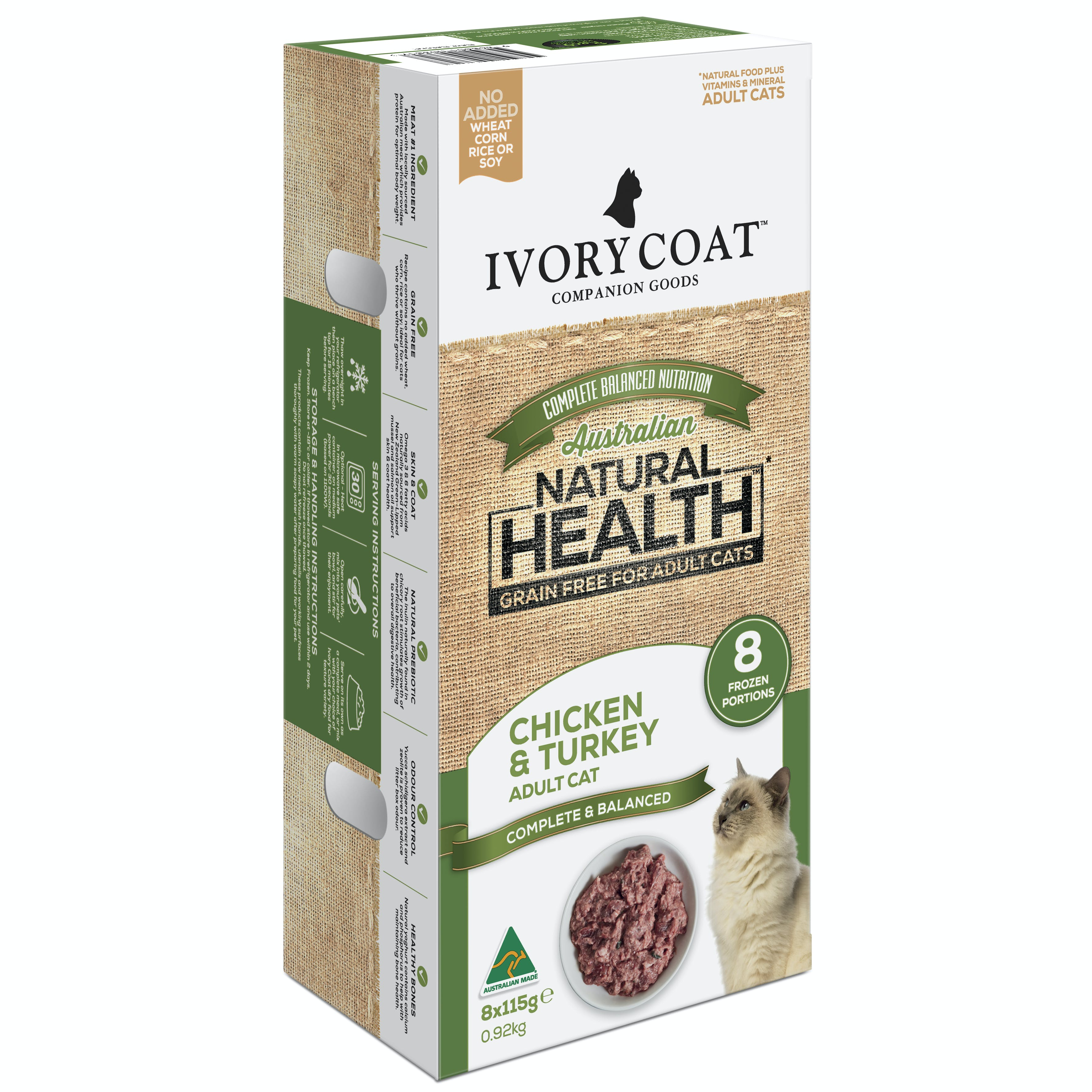 Ivory Coat | Adult Cat Frozen Portions Grain Free Chicken & Turkey 8 x 115g | Grain Free Chilled Cat Food | Front of pack