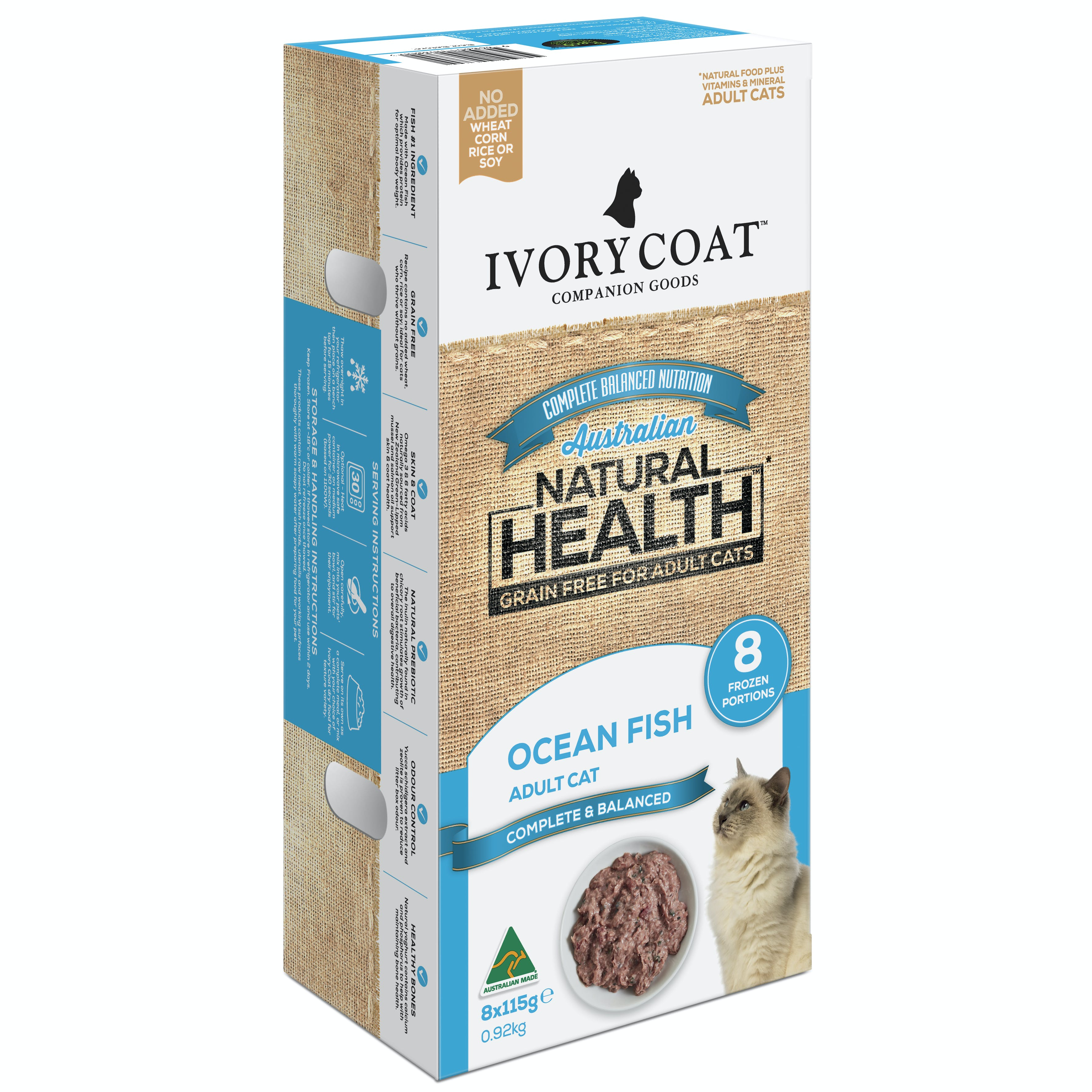 Ivory Coat | Adult Cat Frozen Portions Grain Free Ocean Fish 8 x 115g | Grain Free Chilled Cat Food | Front of pack