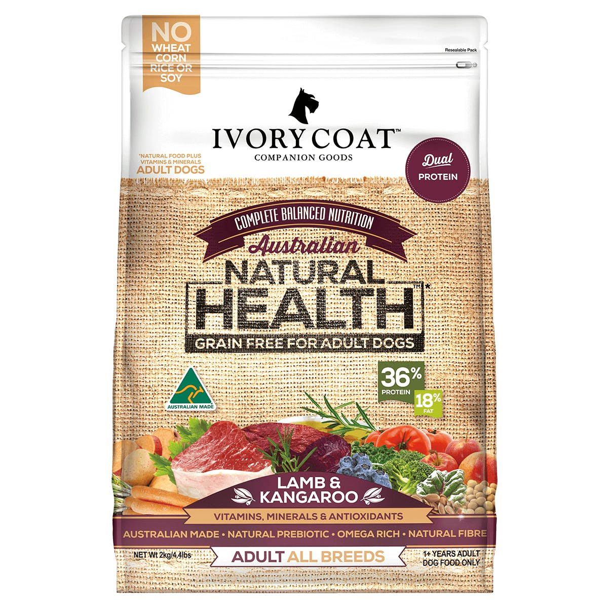 Ivory Coat | Dry GF Lamb & Kangaroo 2kg | Grain Free Dry Dog Food | Front of pack