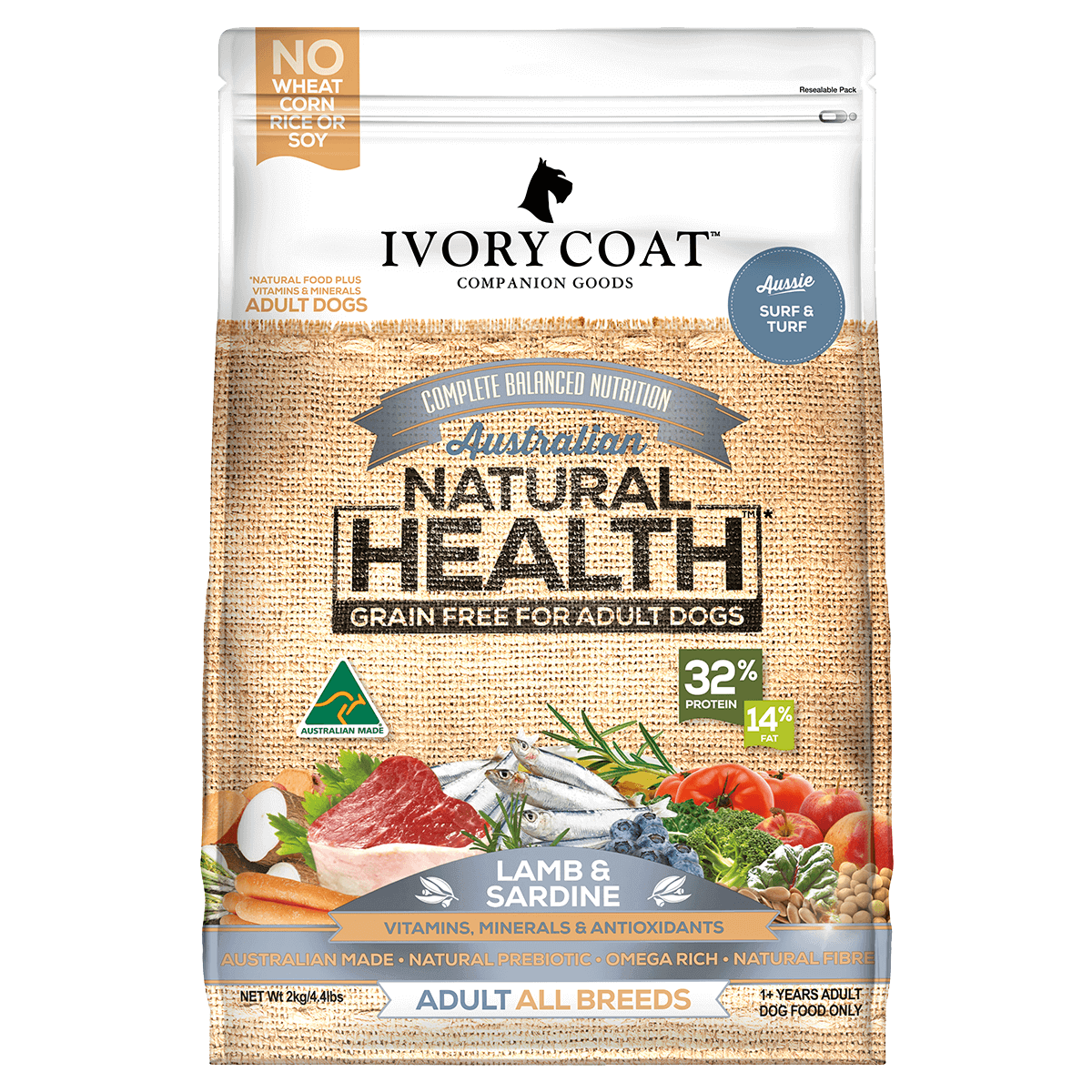 Ivory Coat | Dry GF Lamb & Sardine 2kg | Grain Free Dry Dog Food | Front of pack