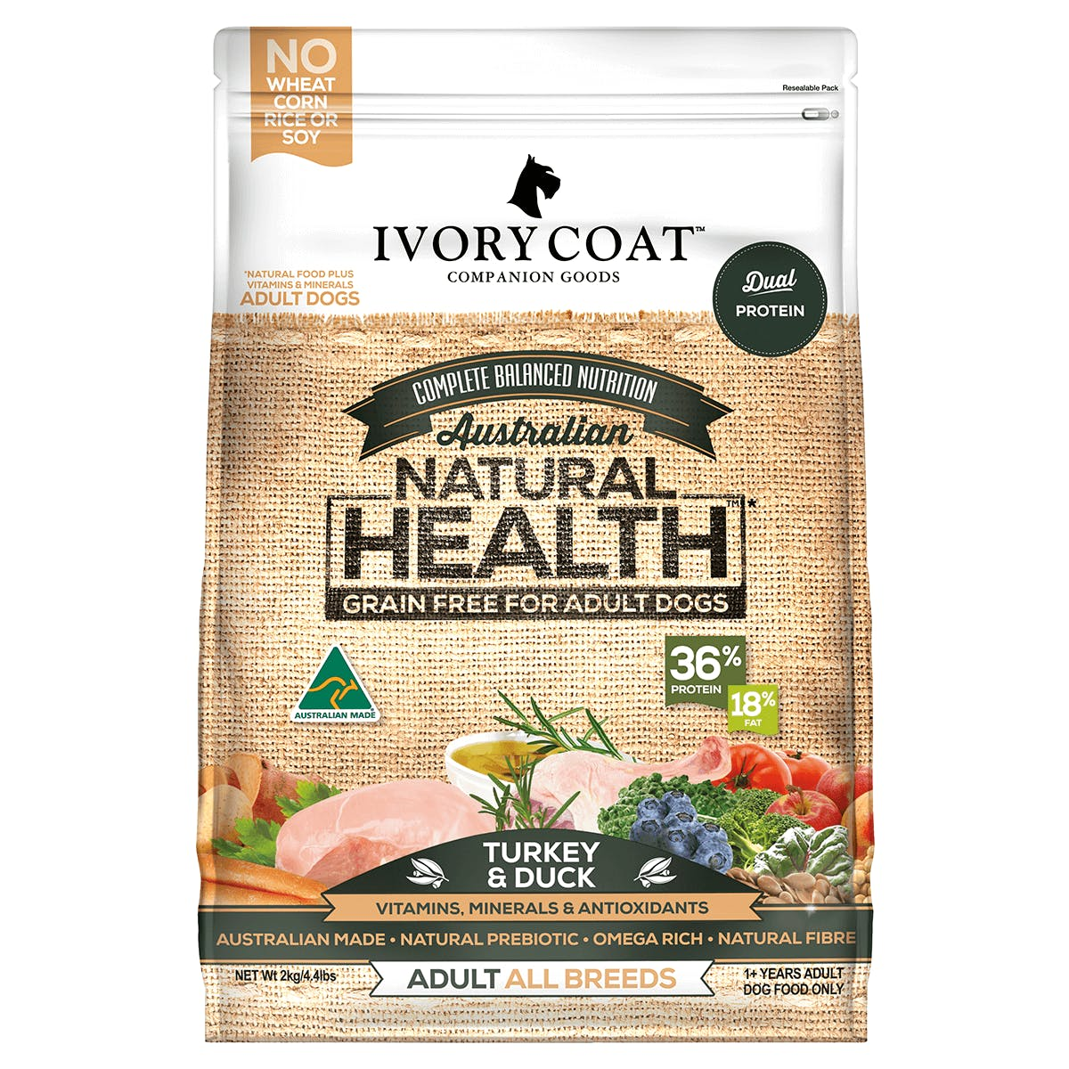 Ivory Coat | Dry GF Turkey & Duck 2kg | Grain Free Dry Dog Food | Front of pack