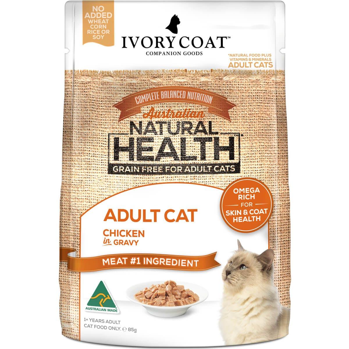 Ivory Coat | Cat Wet GF Adult Chicken in Gravy 85g | Grain Free Wet Cat Food | Front of pack