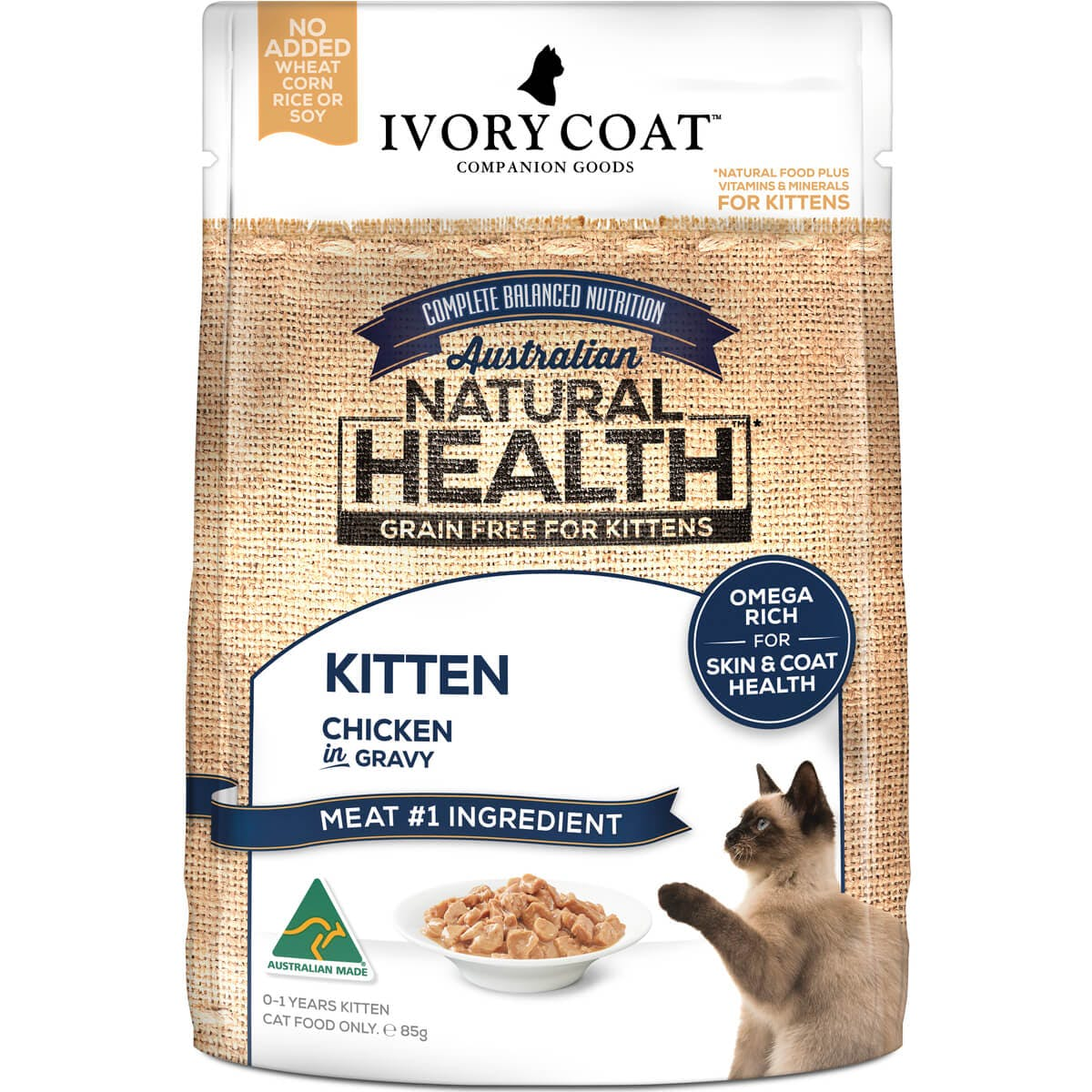 Ivory Coat | Cat Wet GF Kitten Chicken in Gravy 85g | Grain Free Wet Cat Food | Front of pack
