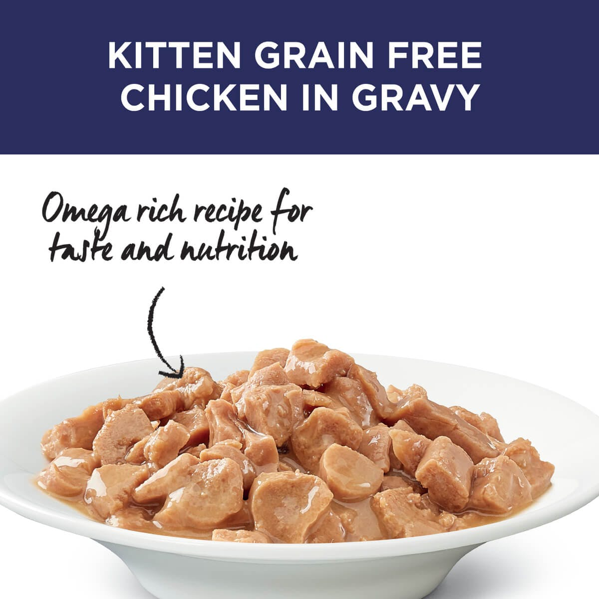 Ivory Coat | Cat Wet GF Kitten Chicken in Gravy 85g | Grain Free Wet Cat Food | Top of pack